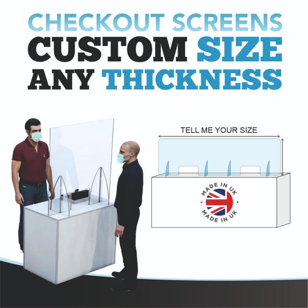 Acrylic Sneeze Screen Shield Nail Bar Salon Counter Protection Plastic Checkout